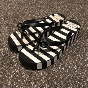 Kate Spade Sandals Black White Wedge Flip Flops